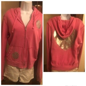 VS Pink Silver Studded Peace Sign Hear Hoodie